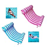 AIWAN LEZHI 2-Pack Premium Swimming Pool Float Hammock, Comfortable Inflatable Swimming Pools Lounger, Water Hammock Lounge (Pink,Blue)