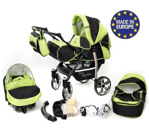 Sportive X2, 3-in-1 Travel System con carrozzina, seggiolino auto, passeggino sportivo e accessori CON RUOTE GIREVOLI (3-in-1 Travel System, nero, verde)