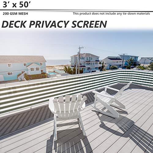 BOUYA Deck Privacy Screen for BackyardPatioBalconyPoolPorchRailiingGardeningFence Shield Rails Protection Outdoor Screening Green White 3#039x50#039