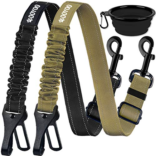 DOYOO Dog Seat Belt,New 2-in-1 Multi-Functional Dog Car Seatbelts 2 Pack Pet Car Seat Belts Adjustable Heavy Duty & Elastic Reflective Vehicle Dog Car Harness