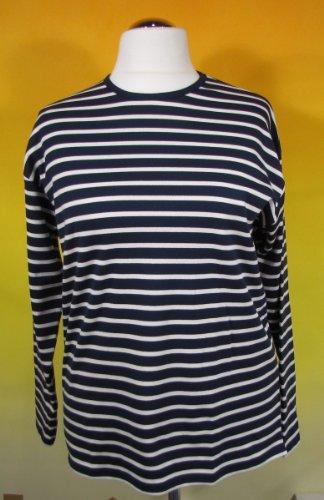 Bretonisches Hemd mit Rundhalsausschnitt Streifen blau / weiß gestreift 2500_05 von Modas Größe 44 (Damen) / 52 (Herren)