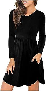 Skirts for Women,2019 Autumn Winter Ladies O-Neck Solid Color Floral Print Irregular Hem Elegant Long Sleeves