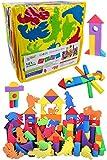 ソフトつみき 動物セット カラフル 121ピース入り 収納袋付き ソフトブロック 積み木 つみき EVA素材 軽い 柔らかい ブロック おもちゃ DIY カラフル ソフト 知育玩具 想像力 発想力 環境にやさしい 子供プレゼント 出産祝い