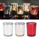 Momangel - Portavelas de cristal con diseño de mosaico para decoración de velas de té o velas LED plata