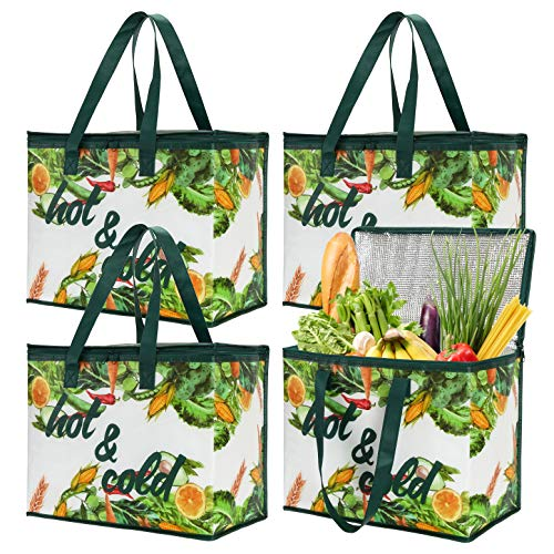 Bekith 4 Pack Insulated Reusable Grocery Bag X Large Cooler Bags Shopping Tote with Zippered Top for Hot and Cold Food Transport Wine Tote Drinks Carrier Stands Upright Collapsible