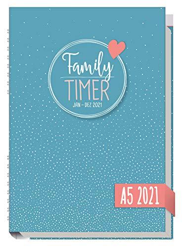 Family-Timer 2021 A5 [Tiny Dots] Der Familien-Kalender! 12 Monate: Januar bis Dezember 21 | Familien-Planer für bis zu 4 Personen + viele hilfreiche Features | nachhaltig & klimaneutral