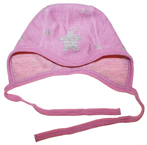 Joha - Bonnet Bonnet de bébé Preemie Fille Falling Star de Laine Merino en Rose - Rose, Ku 48 (GR. 80)