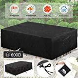 king do way Patio Furniture Covers 124'X70'X29' Extra Large Patio Table Covers Rectangular Covers with 4 Windproof Buckles No Tears Anti UV No Fading Fits 12-14Seat