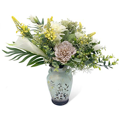 WAKISAKI Faux Flowers in Ceramic Vase, Artificial Flower Arrangement Decoration for Home Kitchen Living Dinning Room Coffee Table Centerpieces Farmhouse Deco (Green)