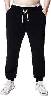 ZhixiaYS Men's Large Size Wide Leg Pants Linen Solid Color Casual Long Pants Sportwear Running Pants