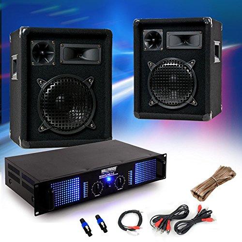 etc-shop 2400 Watt Einsteiger PA Anlage 2X Omnitronic Boxen Verstärker Kabel DJ-549