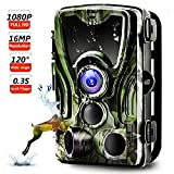 Trail Camera, Binrrio 16MP 1080P Game Hunting Camera with 120° Detection Motion Activate Infrared Night Vision Up to 80ft, 0.3s Trigger Updated No Glow 42pcs 850nm LEDs Wildlife Home Garden Camera