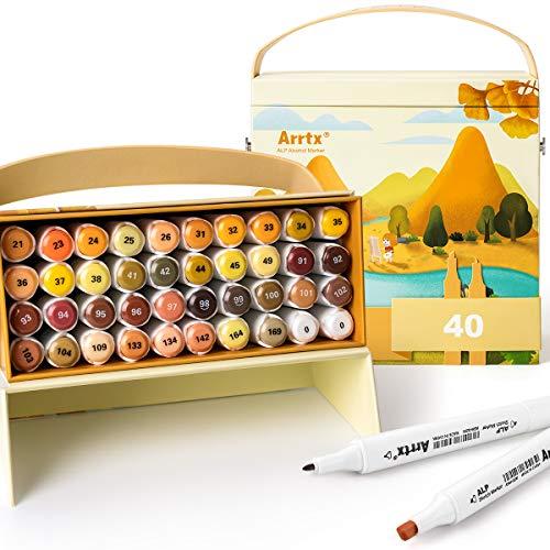 Arrtx ALPマーカーペン イラストマーカー アートマーカー 40色セット 2種類のペン先 太字 細字 防水速乾 コミック用 プレゼント用 塗り絵、描画、落書き、学習用 アート キャリングケース ペンスタンド付き (40色)