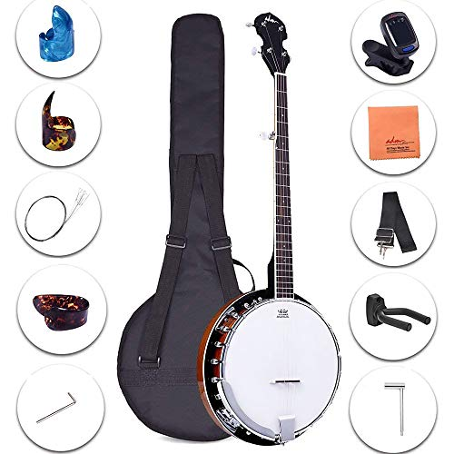 ADM 5-String Banjo 24 Bracket with Closed Solid Wood Back and Geared...