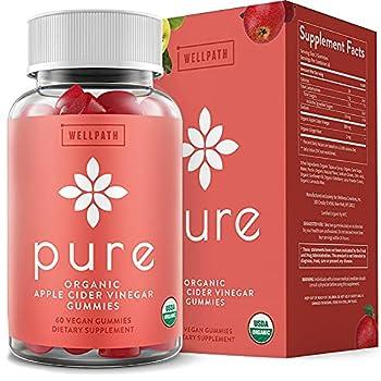 Pure Apple Cider Vinegar Gummies - U.S.D.A Organic Certified A.C.V Gummies - No Artificial Sweeteners - with Raw Organic Apple Cider Vinegar with The Mother - Detox Cleanse Support - 60 Ct