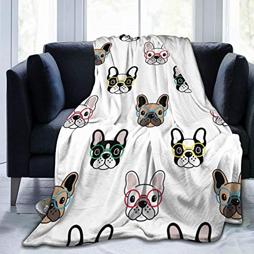 Dog French Bulldog Fleece Blankets and Throws,Soft Warm Fleece Throw Blanket for Adults & Kids,Queen Size Blanket for Bedroom Office Travel Couch Sofa 50'X40'