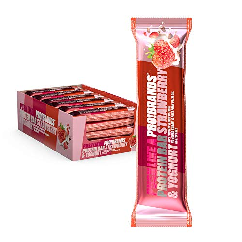 Probrands High Protein 38% and no Added Sugar Bar, 45 G x 24 PCS – Chocolate-Covered Protein bar with Strawberry and Yoghurt Flavour