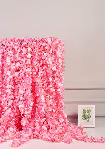AlphaAcc Seta Artificiale Wisteria Fiore Appeso Garland Home Wedding Party Decor, Confezione da 5 Pink