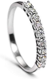 خاتم زفاف من الذهب الأبيض عيار 9 قيراط مويسانيت إترنتي باند خاتم الزفاف من الذهب الحقيقي خواتم الماس مجوهرات جميلة للنساء