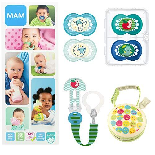 MAM Essential Soothing Set, juego de regalos para bebés de +6 meses, con 2 chupetes de silicona Original +6, 2 chupetes Night +6, chupetero y guardachupetes, NIÑO (Boy)
