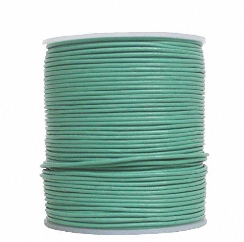 Ensuite eindeloos geitenleer ronde lederen riem rol turquoise groen, voor leren sieraden, leren armbanden, lengte 100 m, Ø 1,5 mm