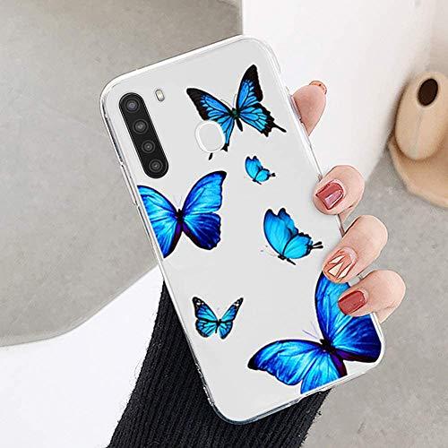 Qpolly - Carcasa compatible con Galaxy A21, transparente con mariposa, diseño de cristal claro, ultrafina, flexible, silicona y gel de protección para niñas y mujeres