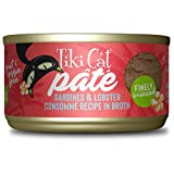 Tiki Cat Grill Pate Canned Wet Food - High Protein and Grain Free - Sardine with Lobster Consommé in Broth 2.8 oz. Cans 12 Pack