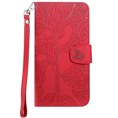 Aiseth Samsung Galaxy S9 Flip Hülle, The Tree of Life geprägt PU Leder Wallet Phone Folio Hülle Magnetic Stoßfest Schutzhülle mit Standfunktion Kartenfächern + 1 Handschlaufe (rot)