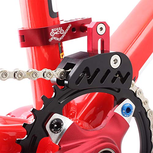 Bike Chain Guide MTB Bike Protector Road Bicycle Mountain Cycle Chain Guide Tensioner with Hollowed Design for Single Disc Sprocket, Front Dial Smooth Driving(Red)