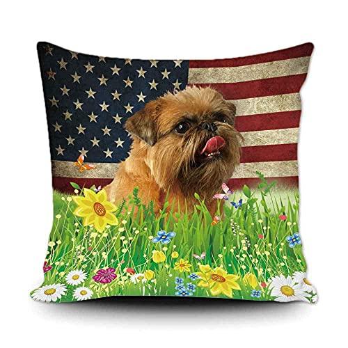 WXM Funda de almohada para perro con flores de primavera y césped de perro de Bruselas Grifón de la bandera americana, decoración de fondo de lona patriótica para el hogar de 50 x 50 cm