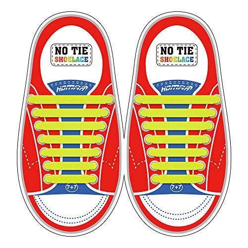 Homar sin corbata Cordones de zapatos para niños y adultos Impermeables cordones de zapatos de atletismo atlética de silicona elástico plano con multicolor de los zapatos del tablero Sneaker boots (Kid Size Yellow)