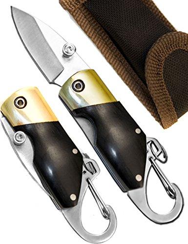 Outdoor Saxx - Mini couteau pliant - Sous forme de porte-clés - Avec mousqueton - 11 cm - Manche en bois - Sac avec passant de ceinture inclus