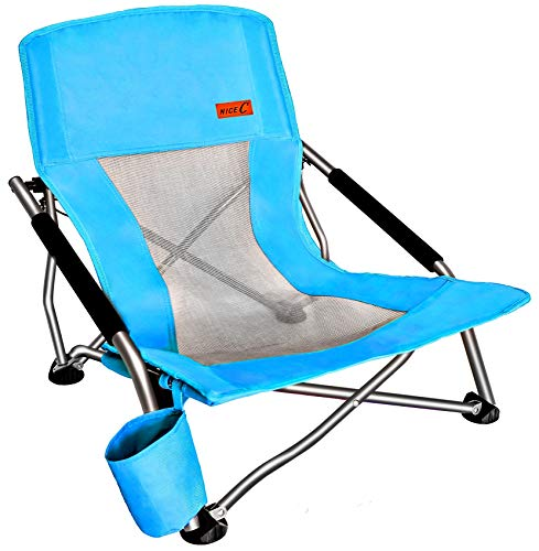 Nice C Low Beach Camping Folding Chair, Ultralight Backpacking Chair with Cup Holder & Carry Bag Compact & Heavy Duty Outdoor, Camping, BBQ, Beach, Travel, Picnic, Festival (1 Pack of Blue)