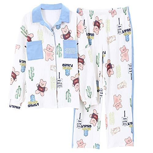 2021 Ocio Ropa De Dormir De AlgodN Pijamas Ropa De Mujer Tops De Manga Larga Conjunto De Pijamas para Mujer Traje De Noche Ropa De Hogar TamaO Grande