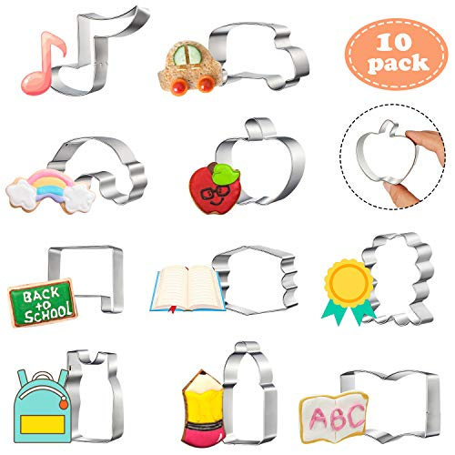 10 Pieces Back to School Cookie Cutters Set, Teacher Appreciation Cookie Cutter Stainless Steel First Day of School Cookie Molds, School Bag, Book, Bus, Blackboard, Medal, Crayon Shapes