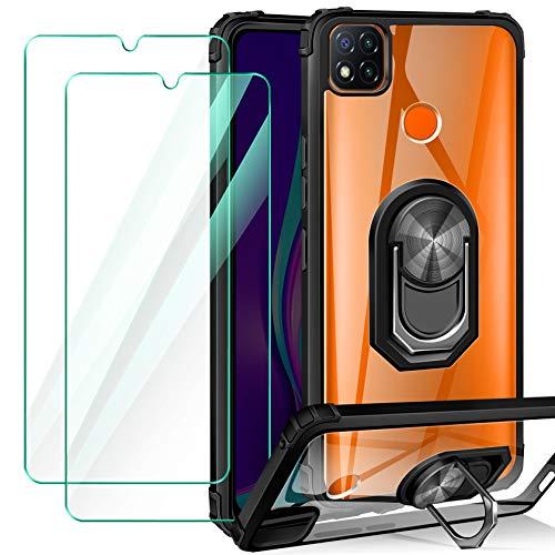 ivencase Handyhülle Kompatibel mit Xiaomi Redmi 9C Hülle mit 2 Stück Panzerglas, 360 Grad Ring Halter Cover Magnetische - Schwarz