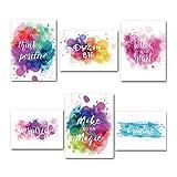 6 unids/set color palabra motivación cartel inglés inspirador decorativo motivacional cartel escuela oficina pintura pared papel cartel decoración hogar película película papel foto