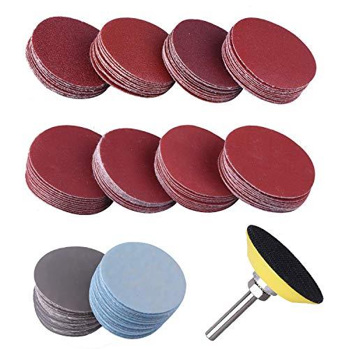 Schleifscheiben Pad Kit, 2 Zoll 100PCS Sandscheibenkissenabdeckung 1/4 Zoll Schaftbohrschleifer Schleifwerkzeug Sandscheibenkissenabdeckung