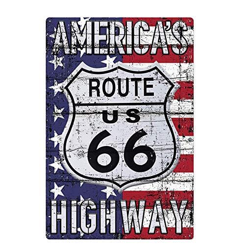 Lumanuby. 1x Klassisch 'Route 66' Vintage Schild mit Bilder von Amerikanische Flagge oder Auto und Motorrad Wandschild für Bar Pub Restaurant Garage Motel Tankstelle 20x30cm, Bar Sprüche Serie