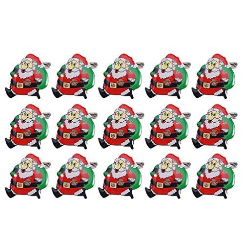 Amosfun 20pcs Weihnachten Anstecknadeln LED Brosche Pins Weihnachtsmann Medaillon Pin Brosche mit Licht Kinder Geschenk