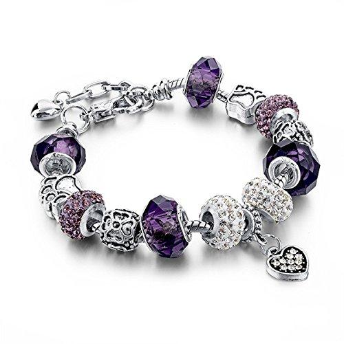 Choker Silver Plated Snake Chain Charm Bracelets Bangles Purple Murano Glass & Crystal Beads Fit Bracelet for Women