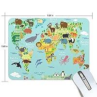 マウスパッド 動物の世界地図 ゲーミングマウスパッド 滑り止め 19 X 25 厚い 耐久性に優れ おしゃれ