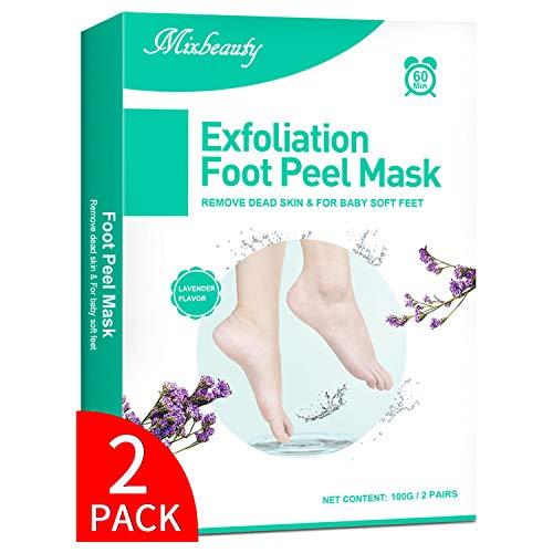 Mixbeauty Fußmaske 2 Paar, Fußpeeling Hornhaut Socken, Hornhaut Entfernung Fußpeeling Maske, Fussmaske hornhautentferner für Samtweiche und Zarte Füße (Lavender duftete)