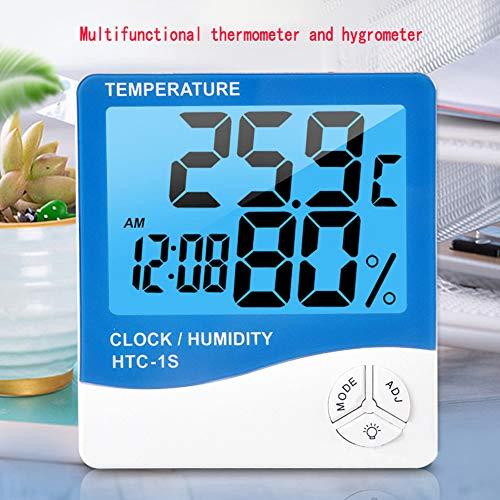 Digitale interne thermometer-hygrometer van de harde schijf, ruimte Lcd-temperatuurvochtigheidsmeter, meetinstrument-wekker, thermohygrometer met blauwe achtergrondverlichting