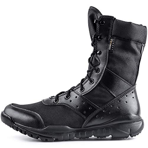 WWOODTOMLINSON Men's LD Lightweight Combat Boots Military Tactical Boots,Black,9 M US