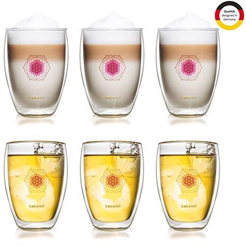 Creano doppelwandiges Tee-Glas, Latte Macchiato, Thermobecher Blume des Lebens | 250ml, in exklusiver Geschenkbox 6er Set
