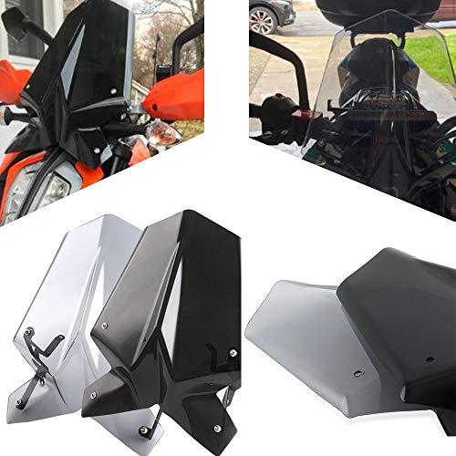 Für Duke125 390 Motorrad Touren Rennen Windschutzscheibe Bildschirm mit Montage Halterung für K-T-M Duke 125/390 2017-2020 2018 2019 (Leichter Rauch)