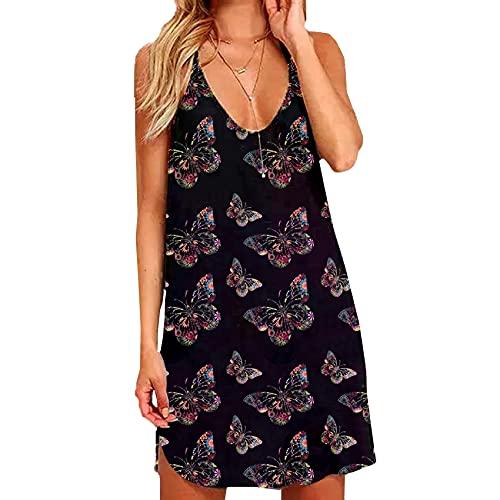 WZXHNYYZYQ SeñOras Casual A-Line Falda Summer Hollow Halter Slim Fit Vestido Estampado