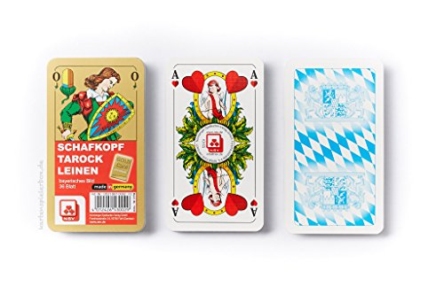 Nürnberger Spielkarten NBGD0027 Schafkopf-Premium Leinen-Klarsichtetui Kartenspiel