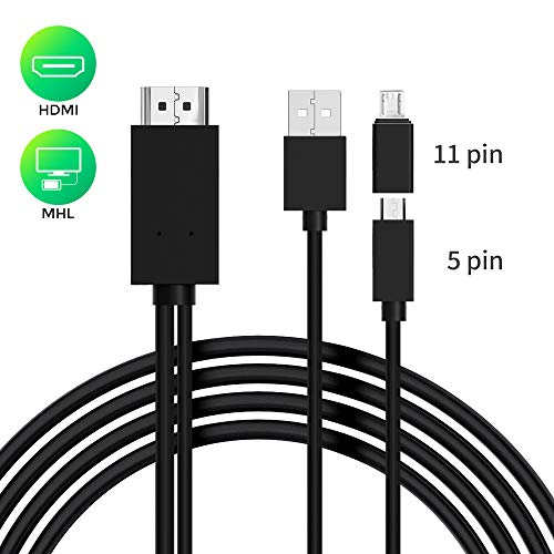 Micro USB to HDMI Cable 6 Feet, MHL to HDMI Adapter 1080P HD HDTV Mirroring &Charging Cable, Digital AV Video Adapter for Android Smart Phones & Tablets
